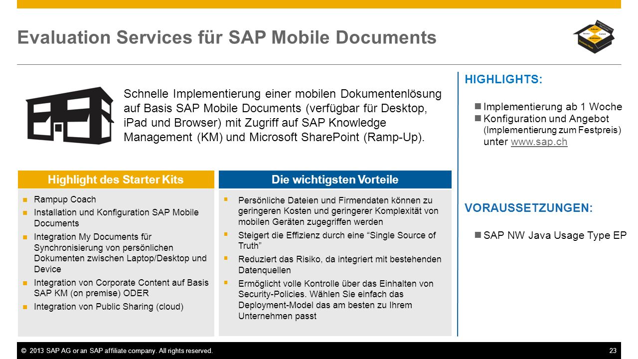 Evaluation Services für SAP Mobile Documents