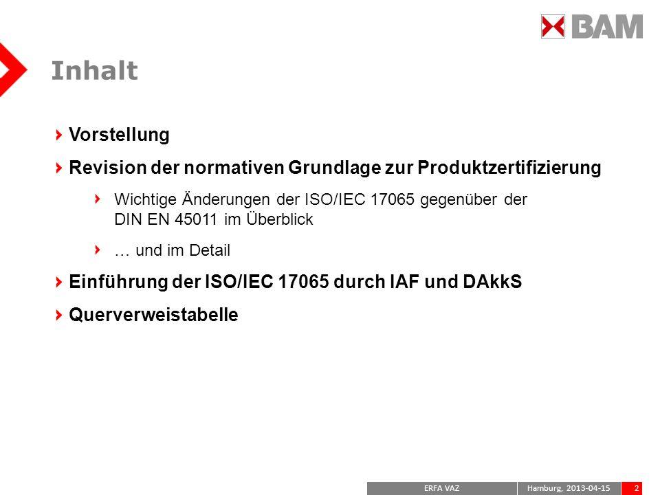 Inhalt Vorstellung. Revision der normativen Grundlage zur Produktzertifizierung.