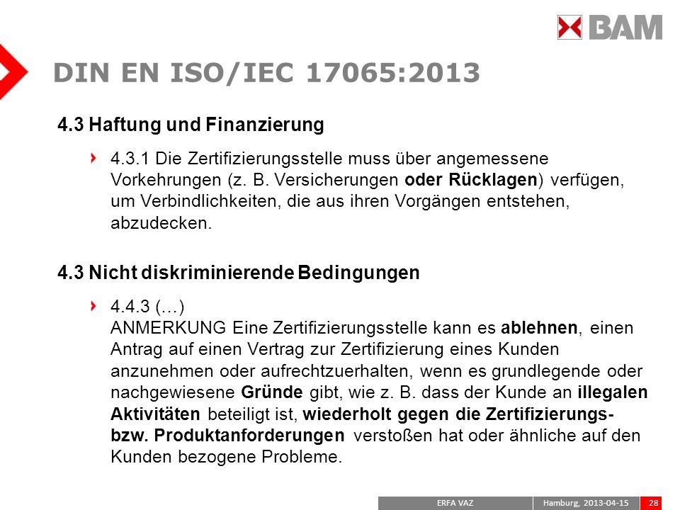 DIN EN ISO/IEC 17065:2013 4.3 Haftung und Finanzierung