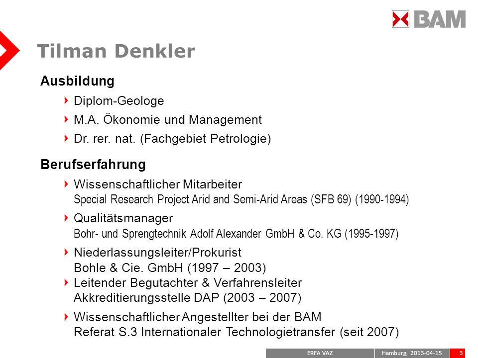 Tilman Denkler Ausbildung Berufserfahrung Diplom-Geologe