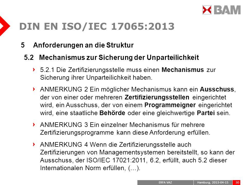 DIN EN ISO/IEC 17065:2013 Anforderungen an die Struktur