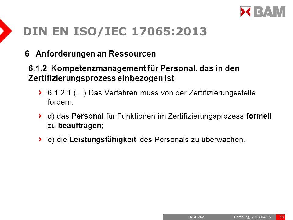DIN EN ISO/IEC 17065:2013 6 Anforderungen an Ressourcen