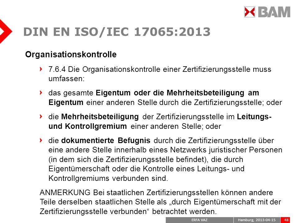 DIN EN ISO/IEC 17065:2013 Organisationskontrolle