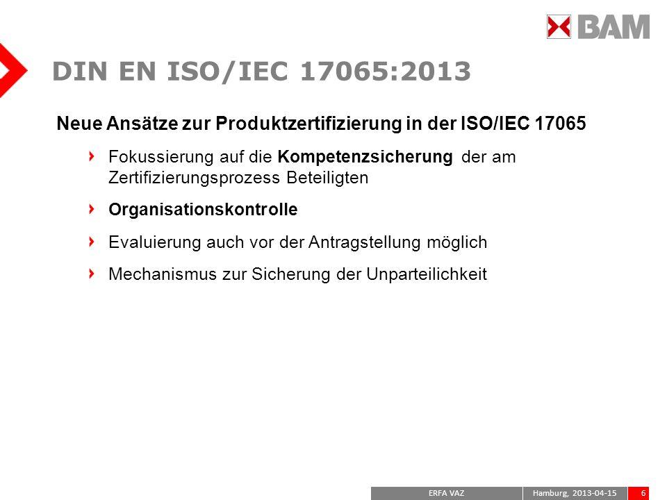 DIN EN ISO/IEC 17065:2013Neue Ansätze zur Produktzertifizierung in der ISO/IEC 17065.
