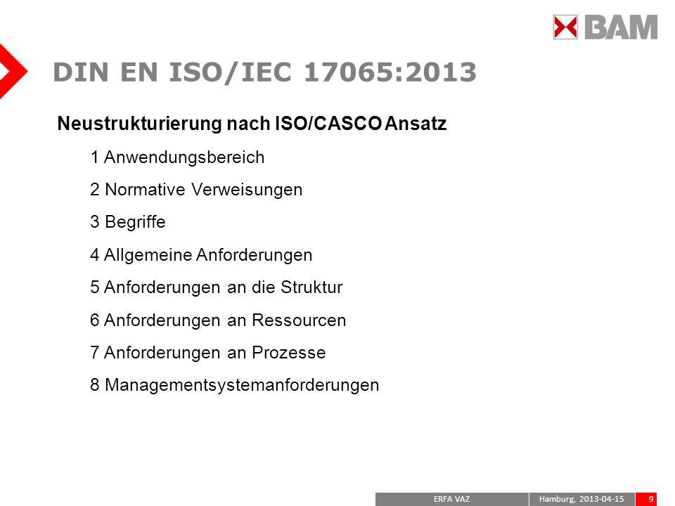 DIN EN ISO/IEC 17065:2013 Neustrukturierung nach ISO/CASCO Ansatz