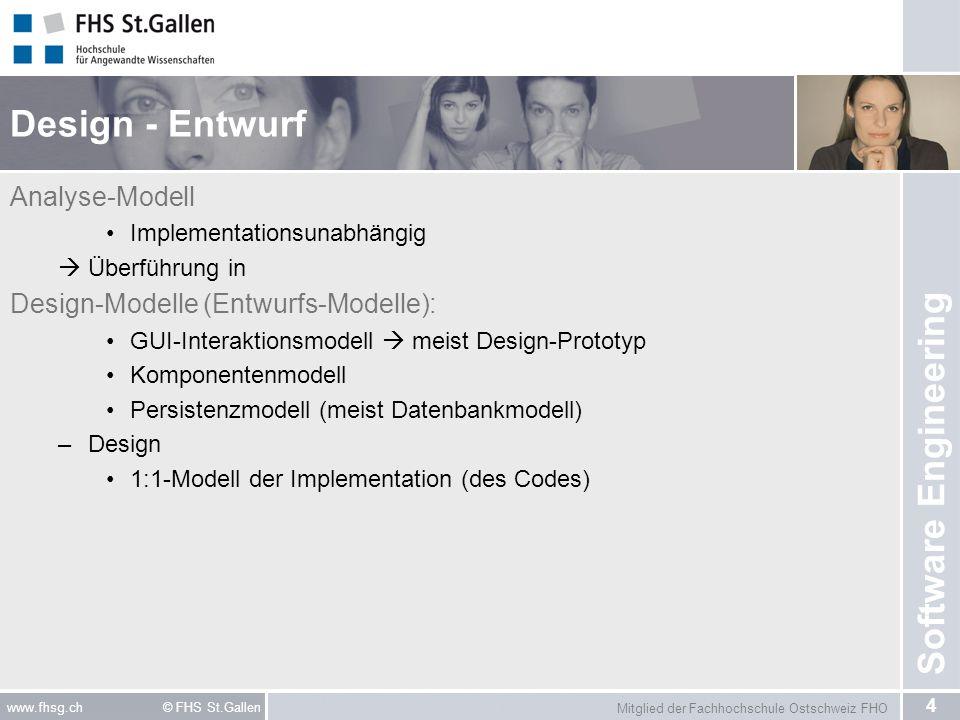 Design - Entwurf Analyse-Modell Design-Modelle (Entwurfs-Modelle):