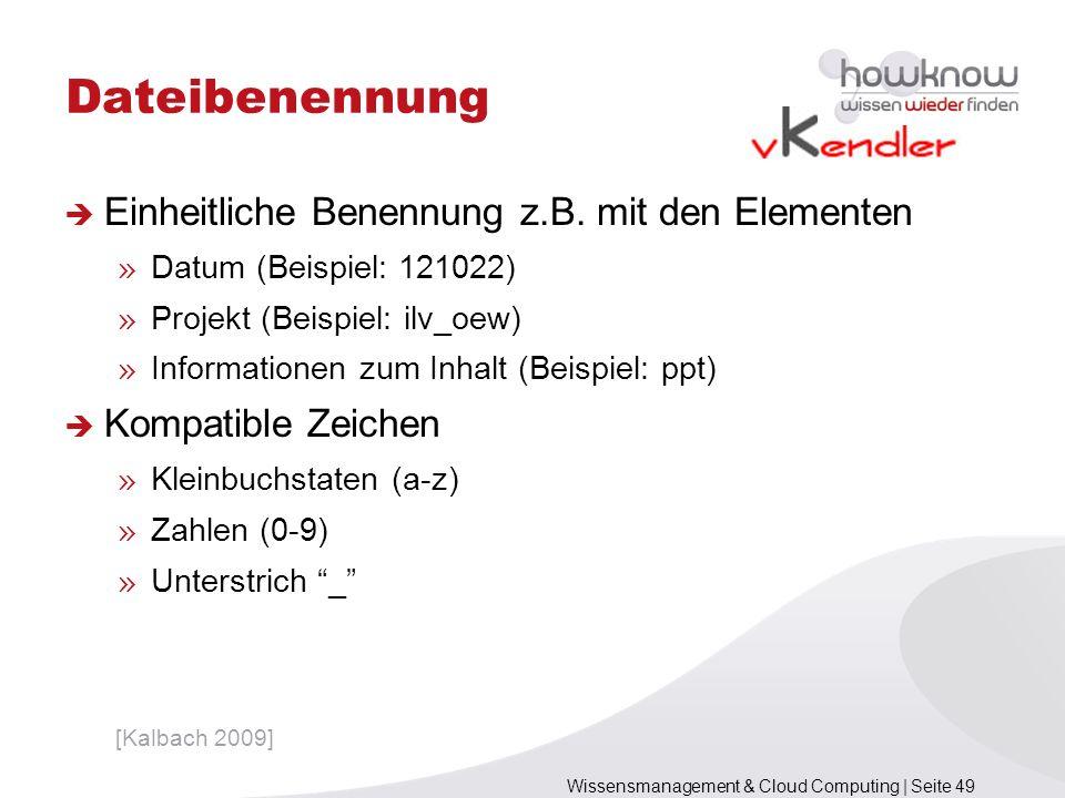 Dateibenennung Einheitliche Benennung z.B. mit den Elementen