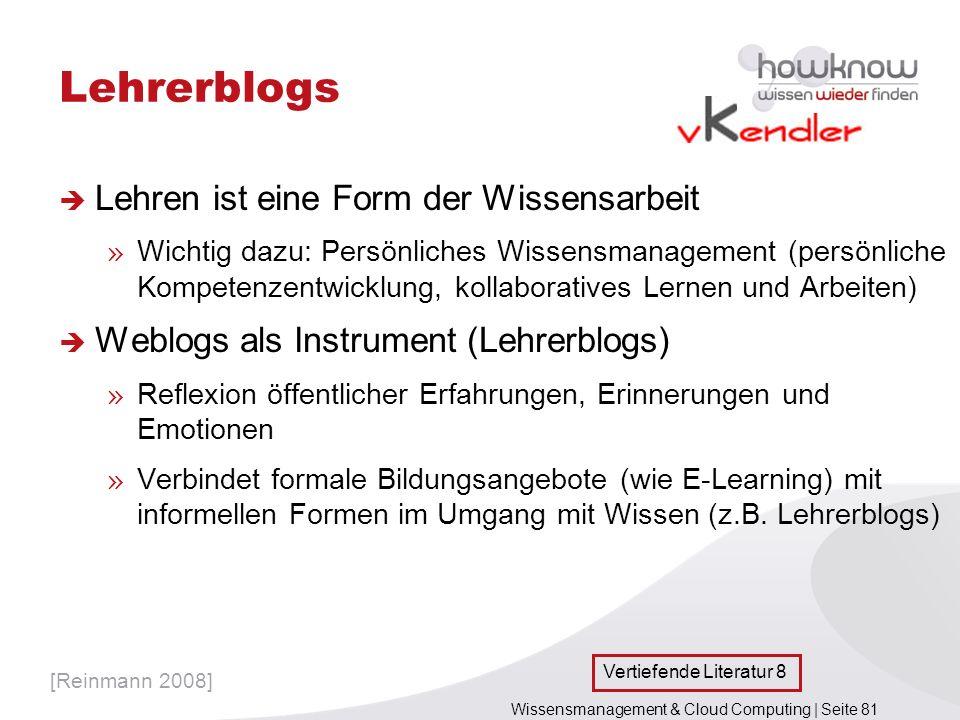 Lehrerblogs Lehren ist eine Form der Wissensarbeit