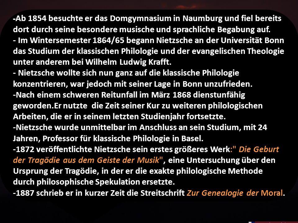 -Ab 1854 besuchte er das Domgymnasium in Naumburg und fiel bereits dort durch seine besondere musische und sprachliche Begabung auf.