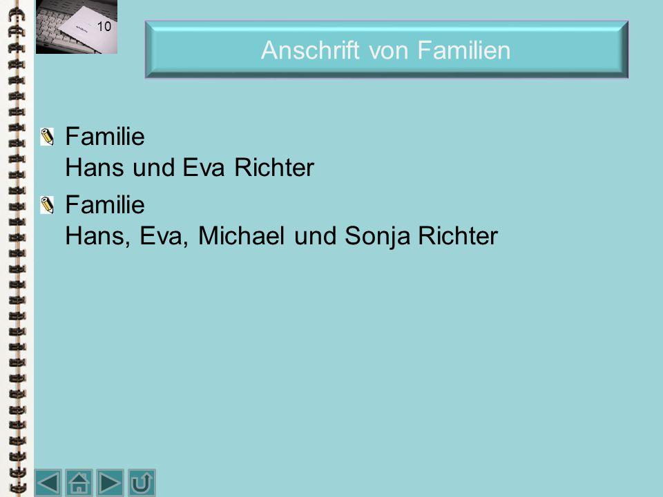 Anschrift von Familien