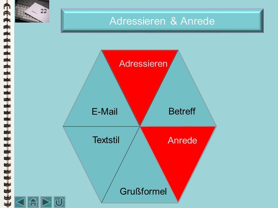 Adressieren & Anrede Adressieren E-Mail Betreff Textstil Anrede