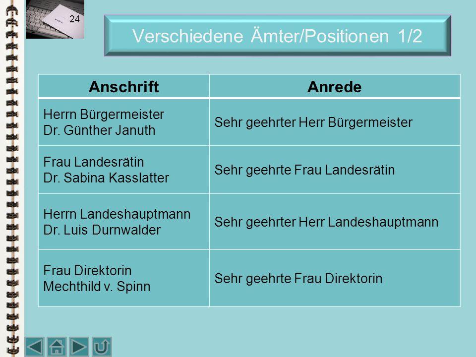 Verschiedene Ämter/Positionen 1/2