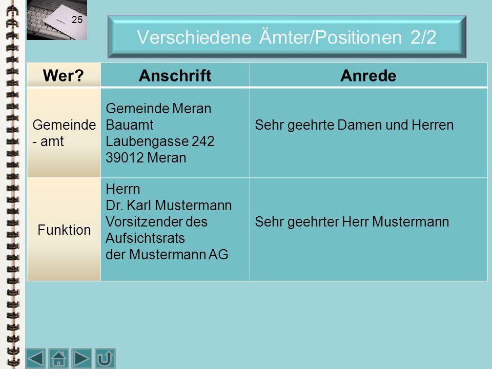 Verschiedene Ämter/Positionen 2/2