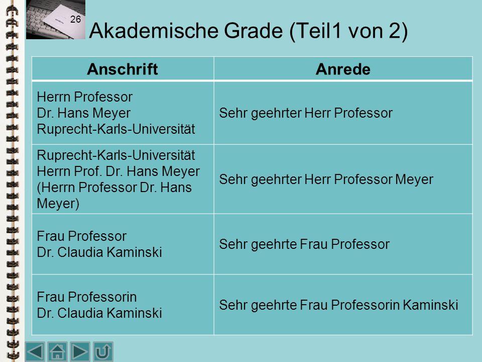 Akademische Grade (Teil1 von 2)