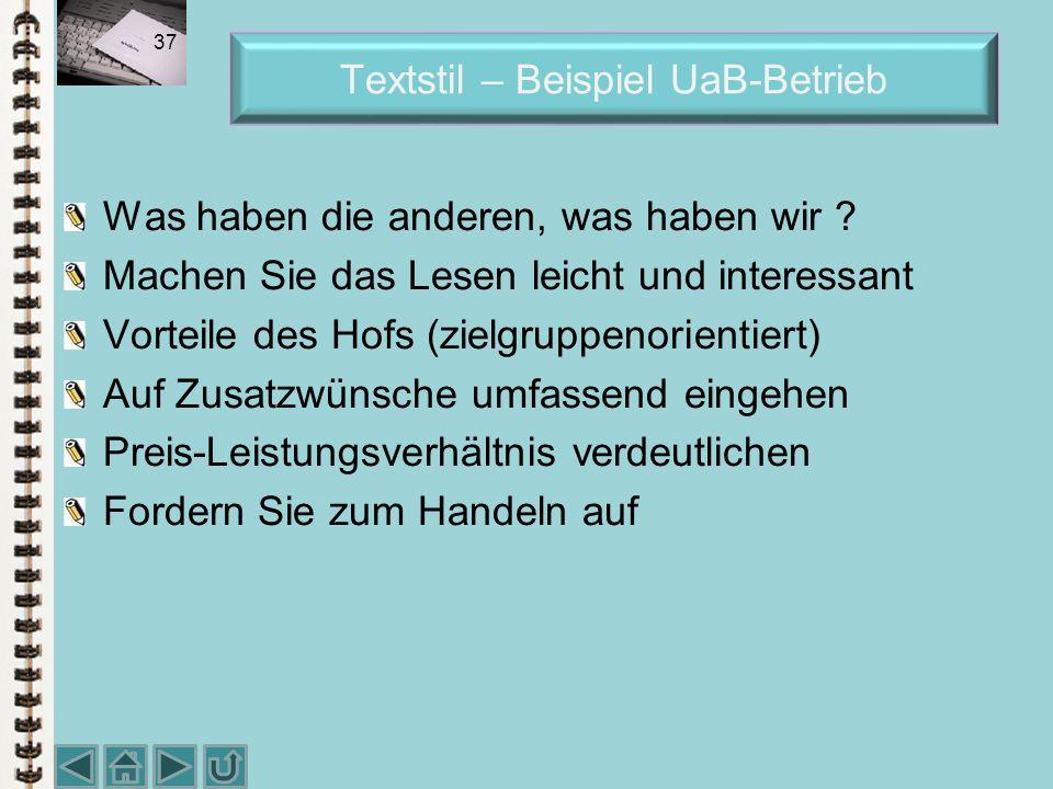 Textstil – Beispiel UaB-Betrieb