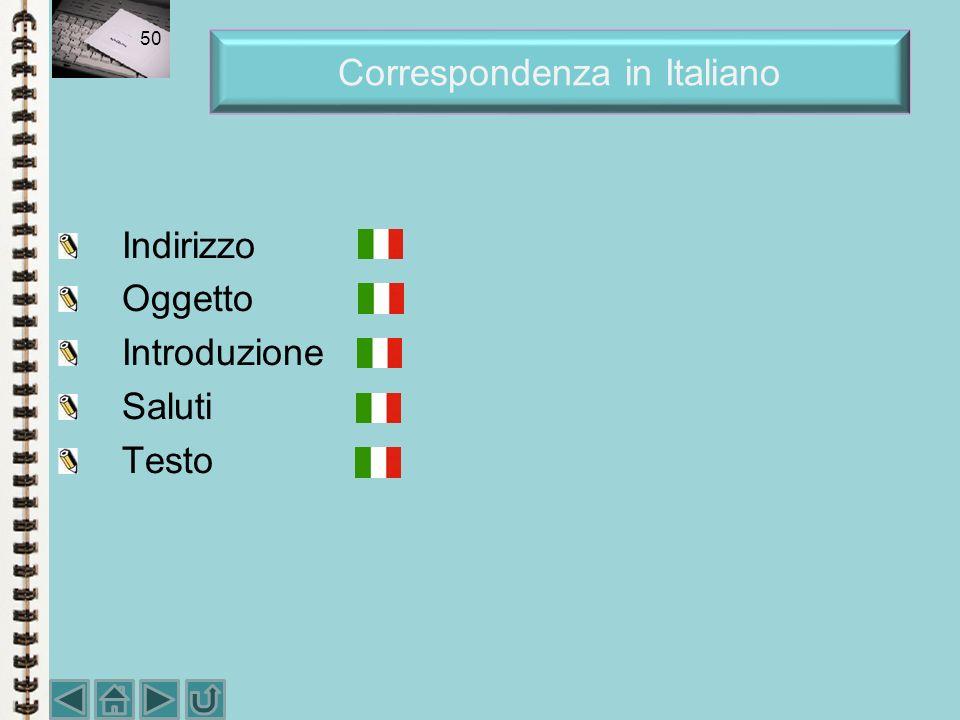 Correspondenza in Italiano