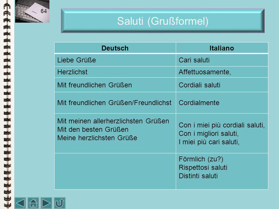 Saluti (Grußformel) Deutsch Italiano Liebe Grüße Cari saluti