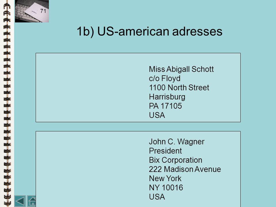 1b) US-american adresses