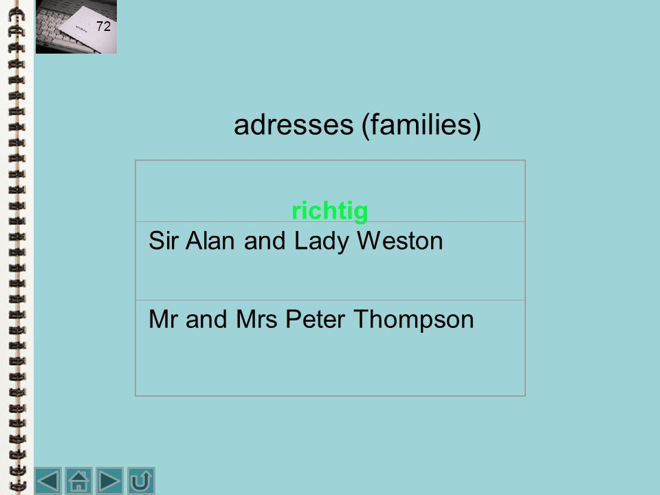 adresses (families) richtig Sir Alan and Lady Weston