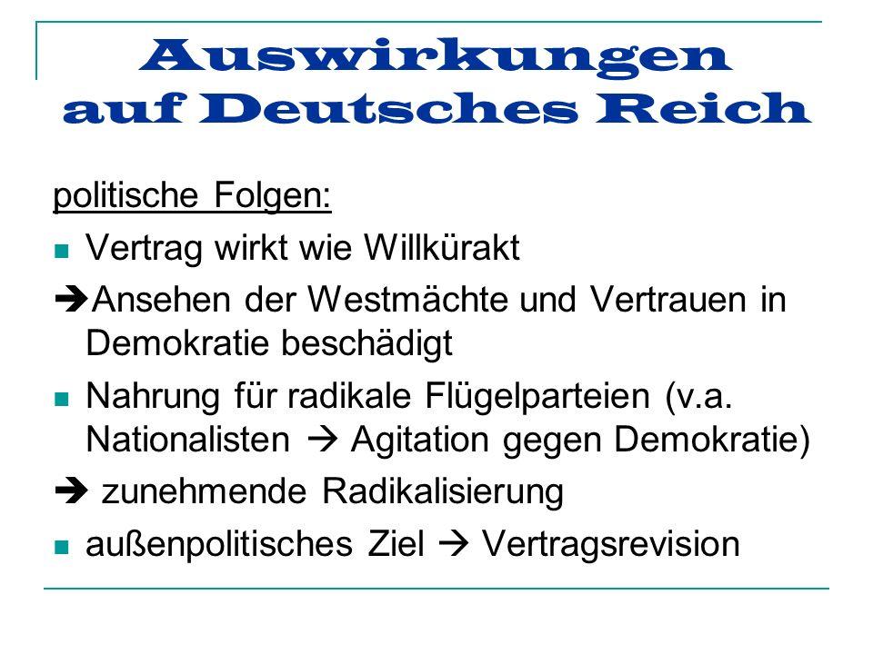 Auswirkungen auf Deutsches Reich