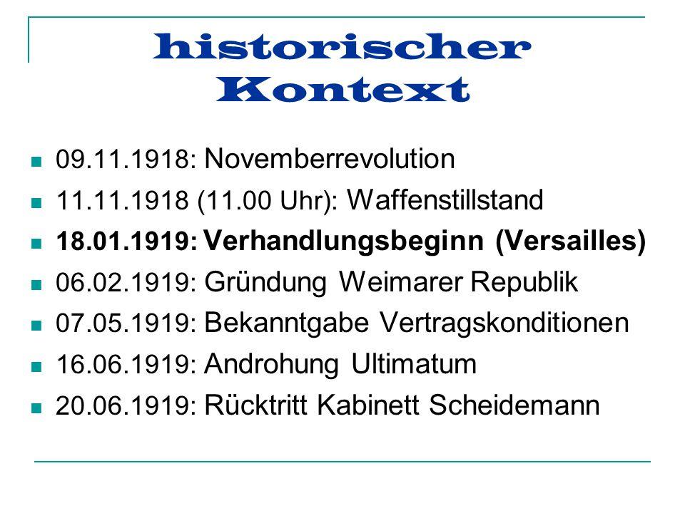 historischer Kontext 09.11.1918: Novemberrevolution