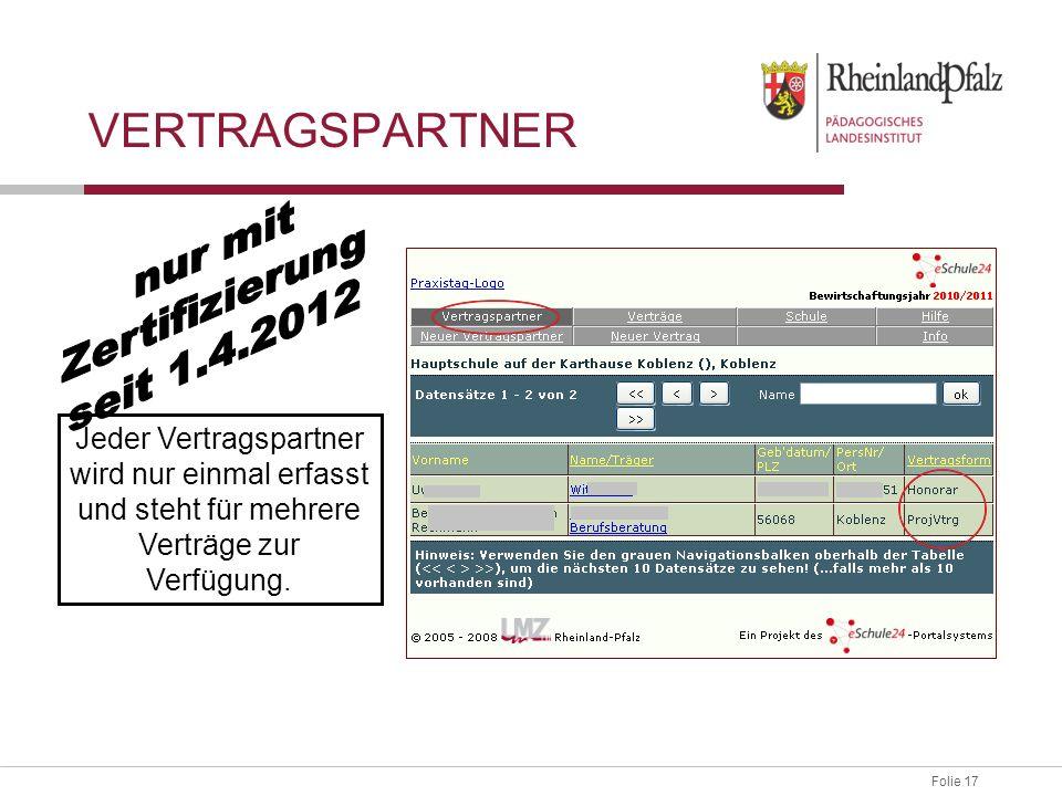 Vertragspartner nur mit Zertifizierung seit 1.4.2012
