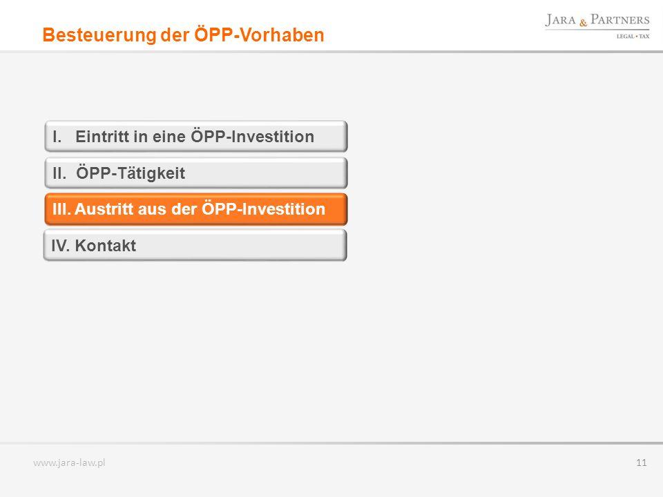 Besteuerung der ÖPP-Vorhaben