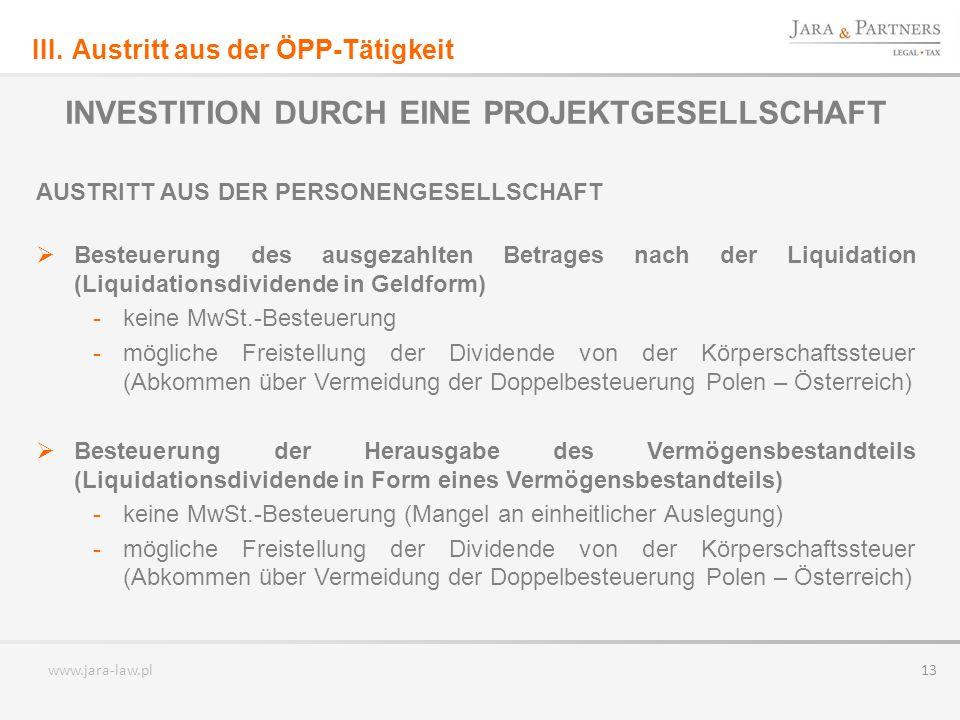 INVESTITION DURCH EINE PROJEKTGESELLSCHAFT