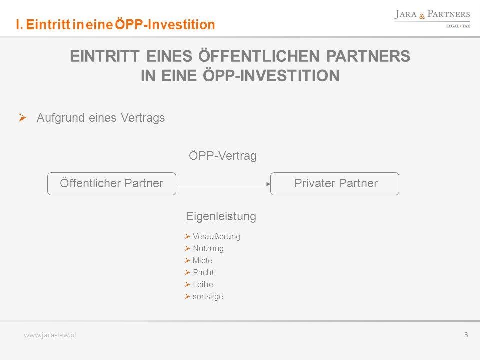 EINTRITT EINES ÖFFENTLICHEN PARTNERS IN EINE ÖPP-INVESTITION