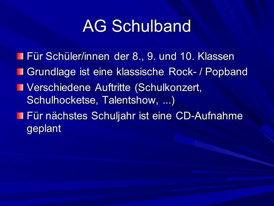 AG Schulband Für Schüler/innen der 8., 9. und 10. Klassen