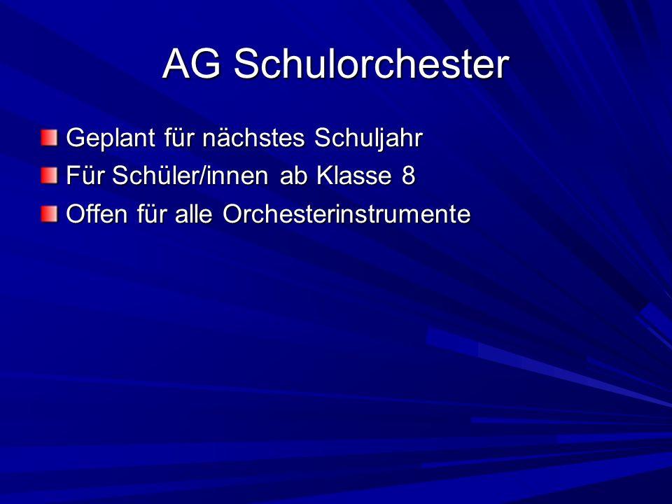 AG Schulorchester Geplant für nächstes Schuljahr