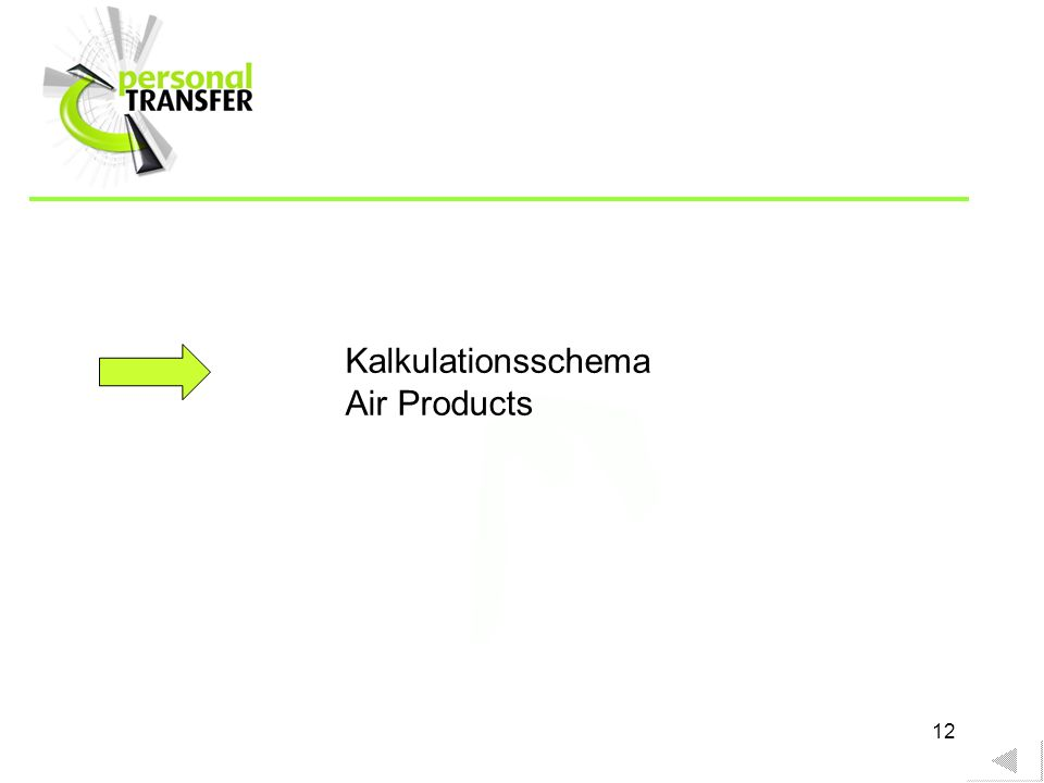 Kalkulationsschema Air Products