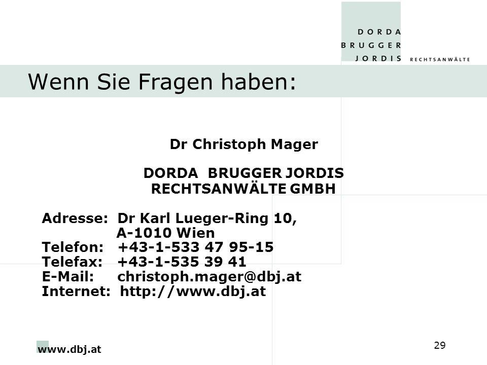Wenn Sie Fragen haben: Dr Christoph Mager DORDA BRUGGER JORDIS