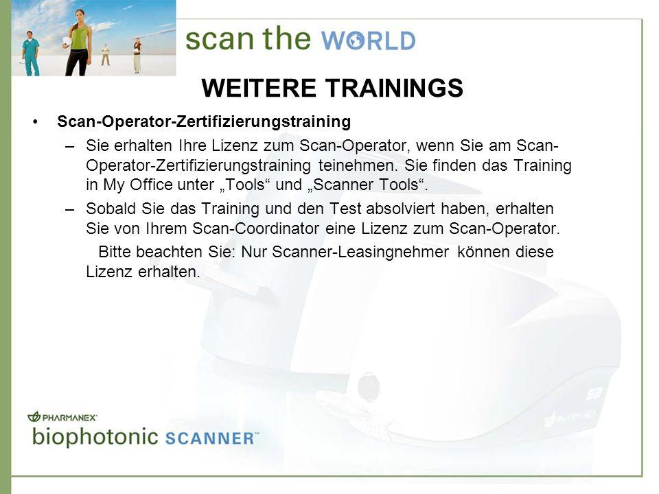 WEITERE TRAININGS Scan-Operator-Zertifizierungstraining