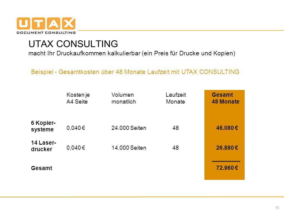 UTAX CONSULTING macht Ihr Druckaufkommen kalkulierbar (ein Preis für Drucke und Kopien)