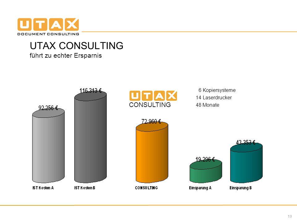 UTAX CONSULTING führt zu echter Ersparnis