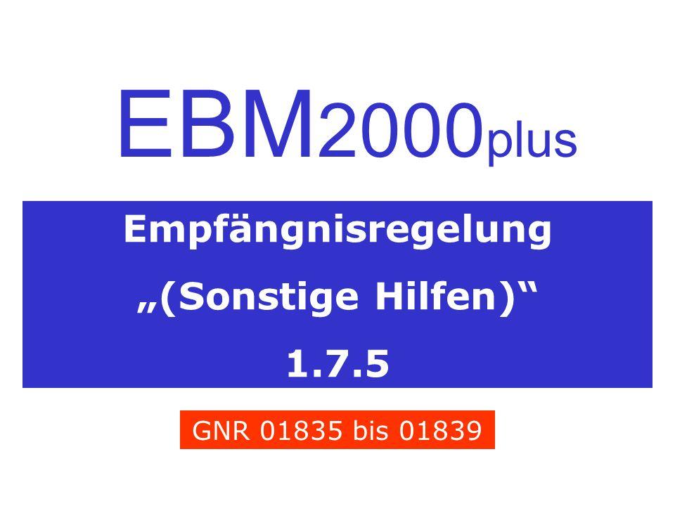 """EBM2000plus Empfängnisregelung """"(Sonstige Hilfen) 1.7.5"""