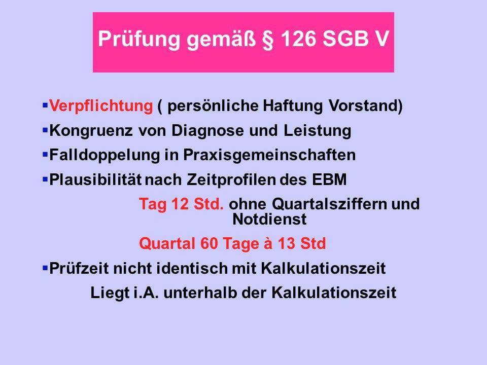 Prüfung gemäß § 126 SGB V Verpflichtung ( persönliche Haftung Vorstand) Kongruenz von Diagnose und Leistung.
