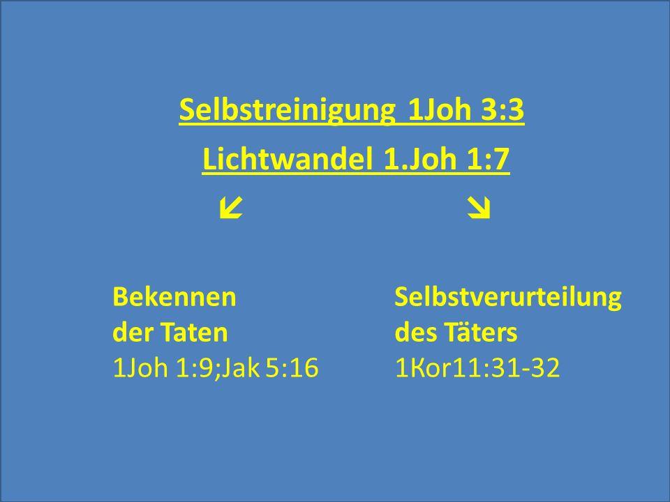 Selbstreinigung 1Joh 3:3 Lichtwandel 1.Joh 1:7  