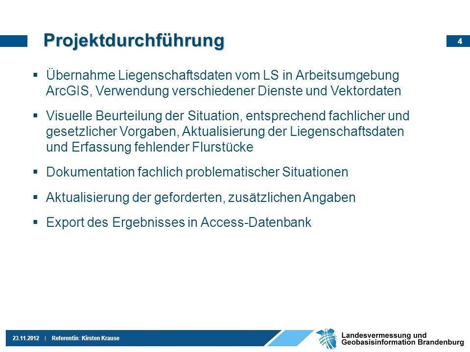 Projektdurchführung Übernahme Liegenschaftsdaten vom LS in Arbeitsumgebung ArcGIS, Verwendung verschiedener Dienste und Vektordaten.