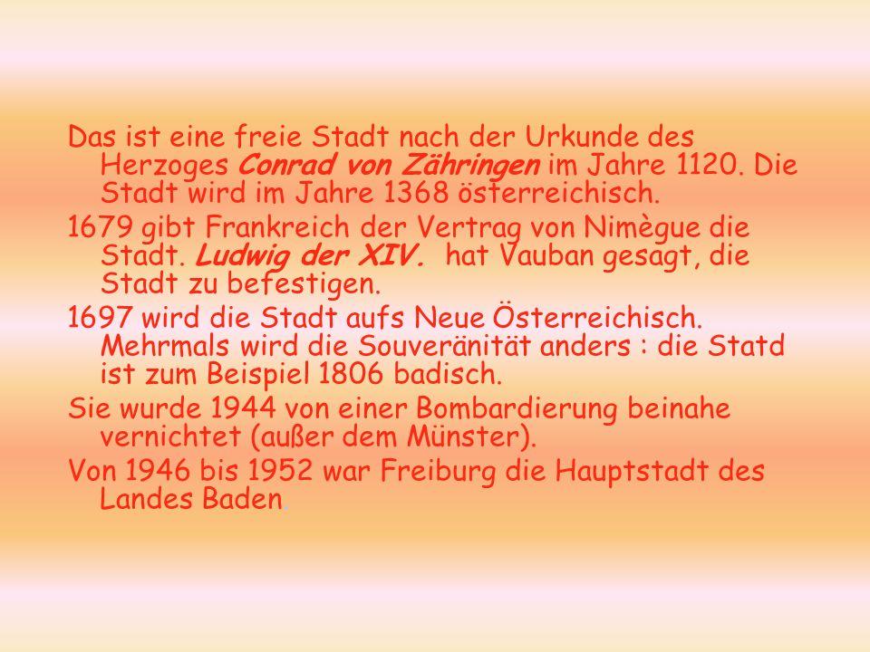 Das ist eine freie Stadt nach der Urkunde des Herzoges Conrad von Zähringen im Jahre 1120. Die Stadt wird im Jahre 1368 österreichisch.