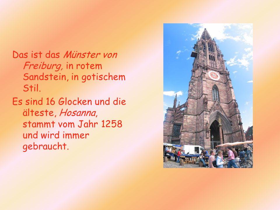 Das ist das Münster von Freiburg, in rotem Sandstein, in gotischem Stil.