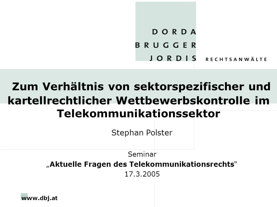 """Aktuelle Fragen des Telekommunikationsrechts"