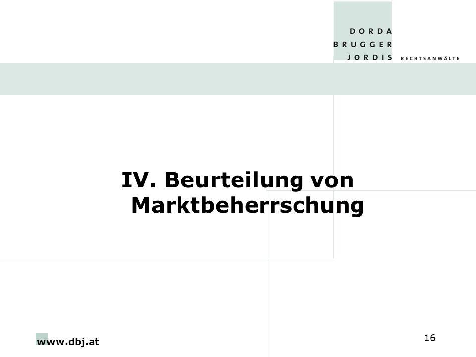 IV. Beurteilung von Marktbeherrschung