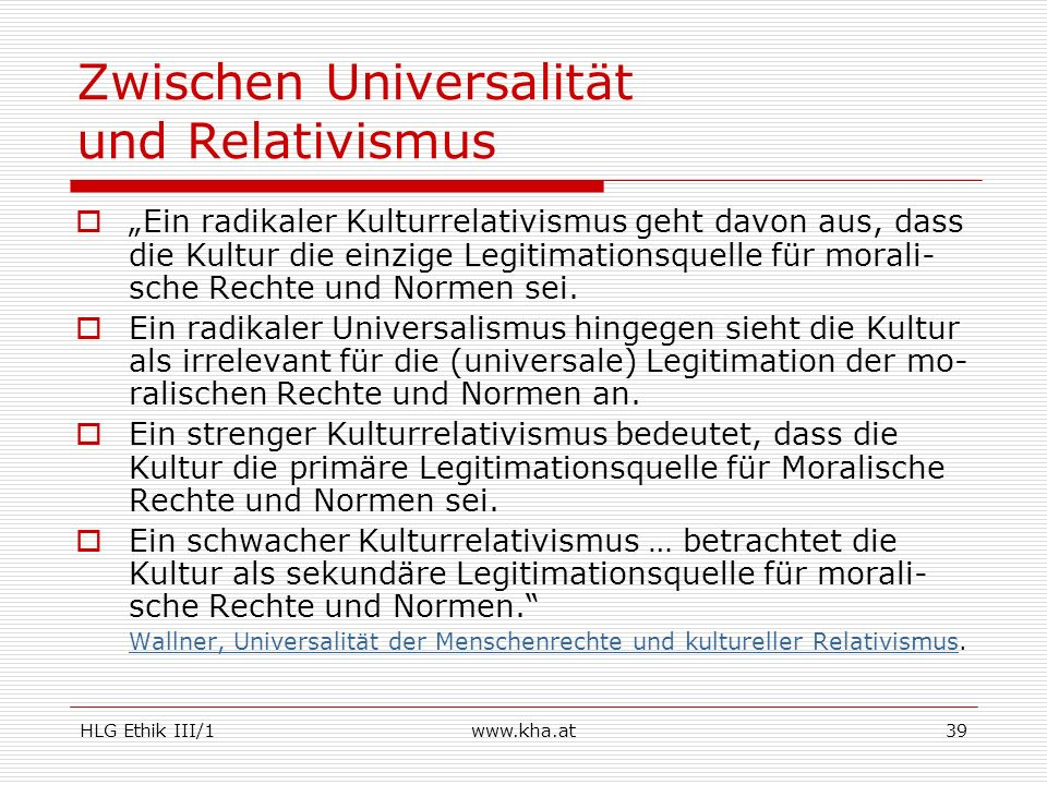 Zwischen Universalität und Relativismus