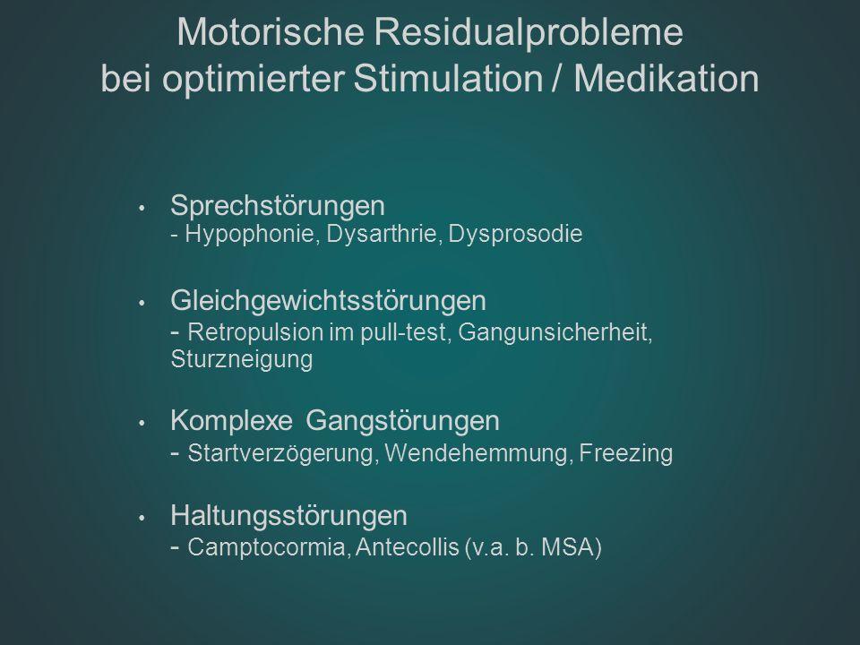 Motorische Residualprobleme bei optimierter Stimulation / Medikation