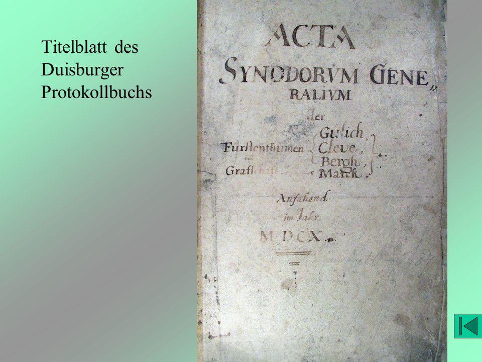 Titelblatt des Duisburger Protokollbuchs