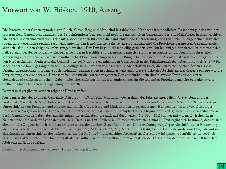 Vorwort von W. Bösken, 1910, Auszug