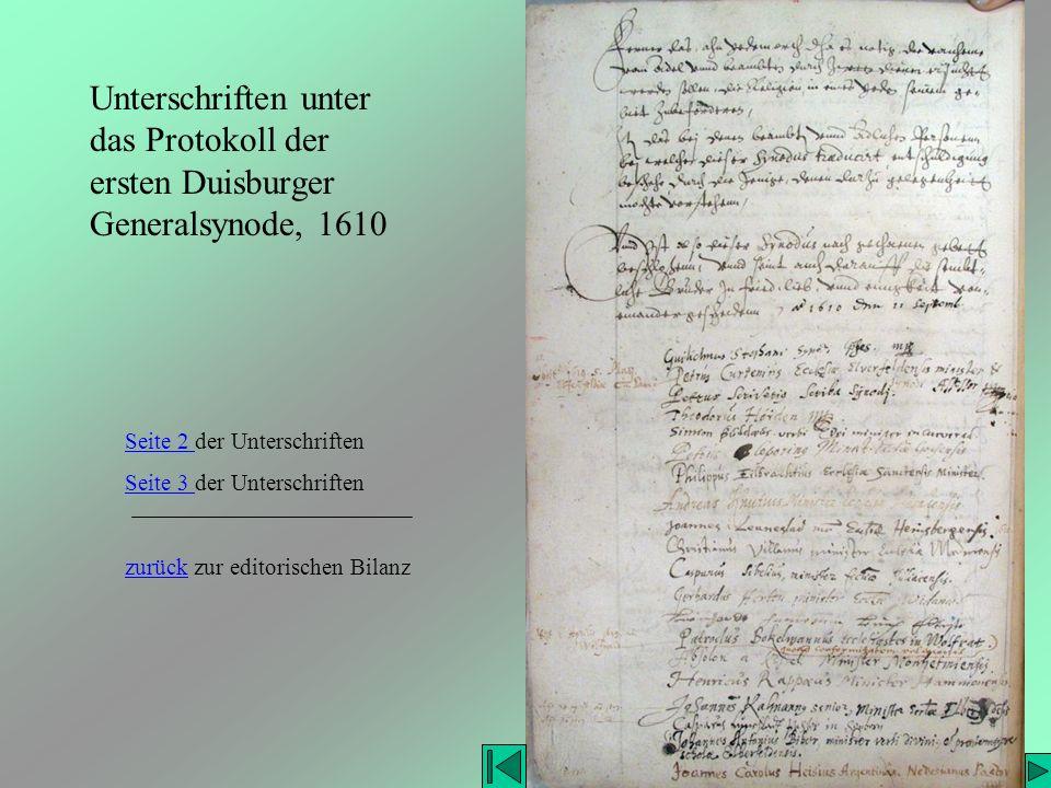 Unterschriften unter das Protokoll der ersten Duisburger Generalsynode, 1610