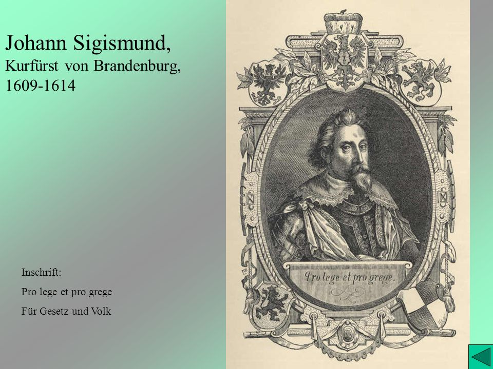 Johann Sigismund, Kurfürst von Brandenburg, 1609-1614